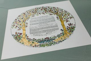 jewish-wedding-ketubah-marriage-contract-with-gold-leaf