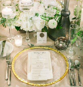 wedding-reception-white-flowers-greenery-gold-charger-candle-votives-place-card-wax-seal-candles