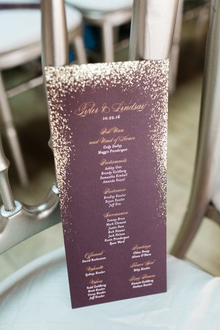 wedding-ceremony-program-purple-burgundy-with-gold-lettering-glitter-and-white-lettering-details