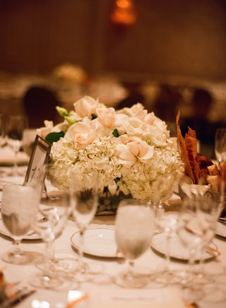 wedding-reception-centerpiece-of-white-hydrangea-and-pale-peach-roses