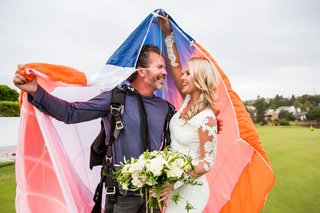Groom Skydives Into Event Space wedding surprise