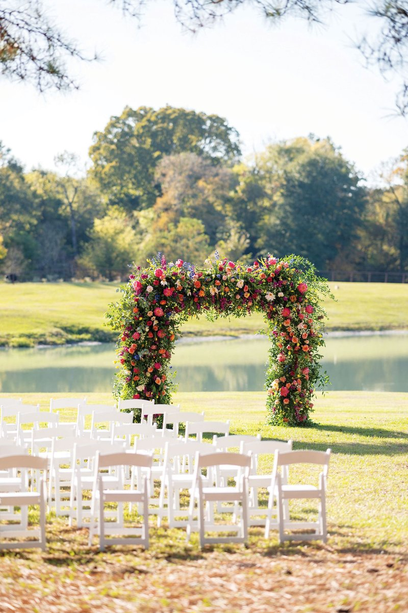 Colorful Arch of Ceremony Flowers