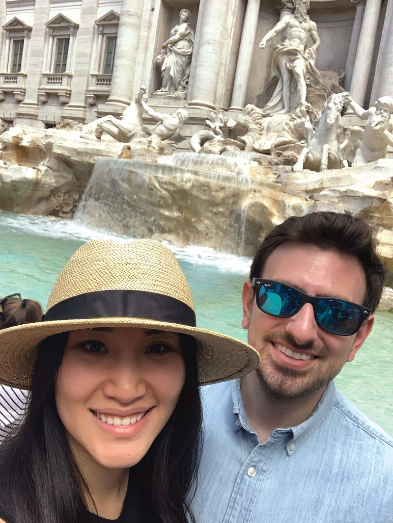 Honeymooners at the Trevi Fountain