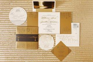 black-gold-and-ivory-fold-out-invitation-suite-with-circles-and-squares