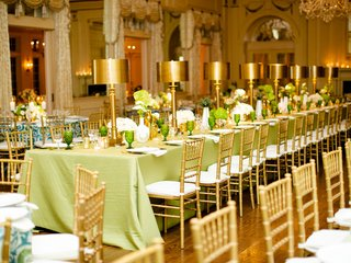 wedding reception belle meade country club green linen gold table lamp centerpiece decor
