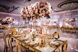 wedding reception natalie sofer weddings gold modern chairs pink purple decor ballroom luxury reception