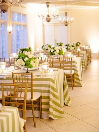 wedding reception country club gold chairs white and green table linens and centerpieces chandeliers