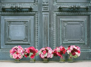 pink-red-burgundy-rose-wedding-flowers-for-bridesmaid-bouquets-with-green-hydrangea-accents