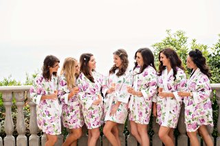 wedding party bridesmaids at bel air bay club purple flower print robes