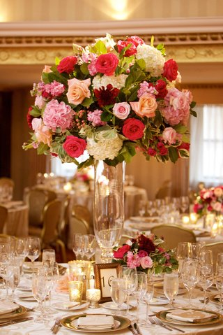 wedding-reception-ballroom-centerpiece-tall-hydrangea-rose-flower-arrangement-frame-table-number