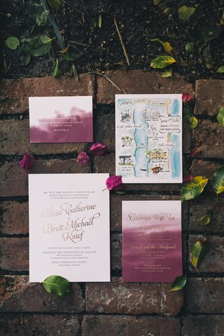 watercolor-invitations-with-burgundy-save-the-date-with-watercolor-map