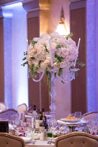wedding-reception-centerpiece-candelabra-candles-pink-rose-white-hydrangea-greenery-amaranthus
