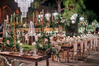 ringling-museum-wedding-reception-with-gold-candelabra-and-lots-of-greenery