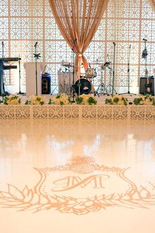 wedding-reception-live-band-stage-white-dance-floor-with-tropical-monogram-custom-ceci-new-york