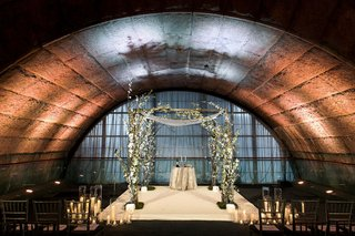 jewish-wedding-at-unique-architectural-venue-in-new-york-city-underground-looking-greenery