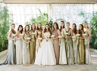 a-line-strapless-reem-acra-wedding-dress-with-bridesmaids-in-metallic-silver-gold-mismatched-dresses