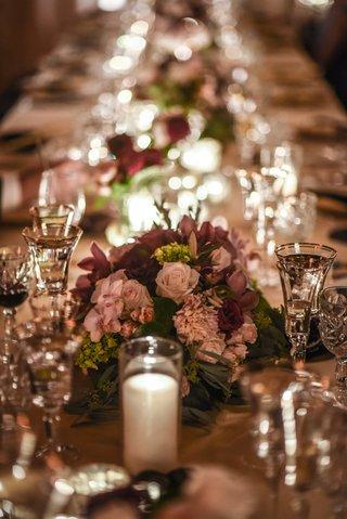 low-floral-centerpieces-with-garden-roses-hydrangeas-dahlias-olive-eucalyptus