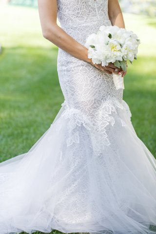 bride-in-custom-hayley-paige-wedding-dress-with-bridal-bouquet-of-white-peonies