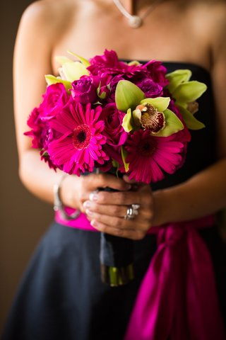 bridesmaid-bouquet-with-pink-gerber-daisy-pink-rose-and-green-orhid