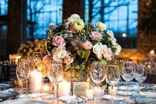 wedding-reception-centerpiece-with-blush-and-ivory-flowers-lilacs-and-greenery