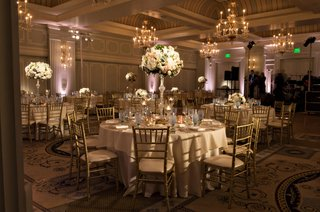 wedding-reception-classic-ballroom-style-casa-del-mar-tall-centerpieces-uplighting-chandeliers