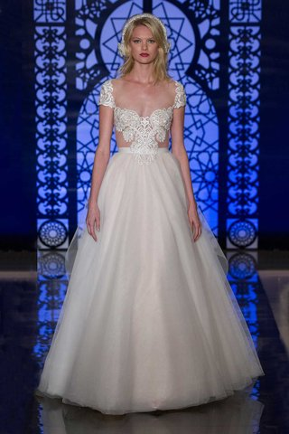 reem-acra-bridal-fall-2016-a-line-ball-gown-with-illusion-short-sleeve-bodice
