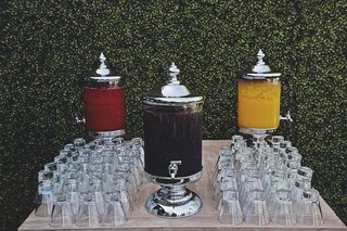 silver-glass-canisters-with-spouts-and-glass-cups