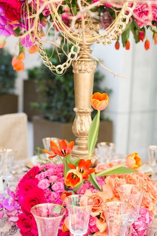 high-low-floral-arrangement-bold-colors-wedding-reception-table-decor-fall-candelabra