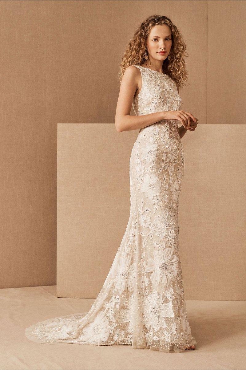"""Lucia"" High-Neck Floral Wedding Dress"
