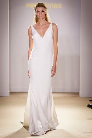 atelier-pronovias-2019-bridal-collection-wedding-dresses-v-neck-silk-satin-gown-plain-dress