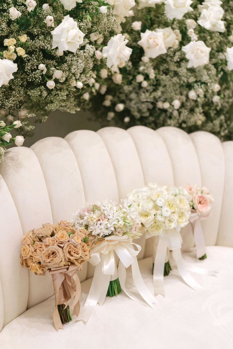Mismatched Bouquets on Channel-Tufted Settee