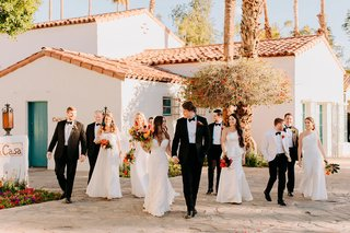 wedding party photo of bridesmaids white dresses groomsmen la quinta resort and club
