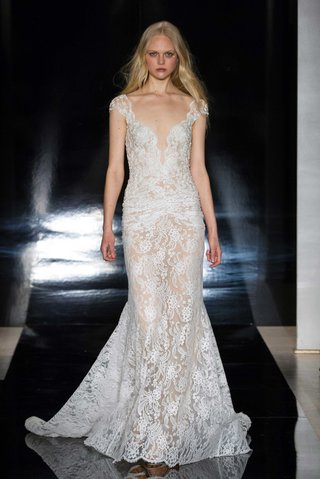 reem-acra-spring-2017-chantilly-lace-sheer-wedding-dress-with-ruche-detail-at-hips