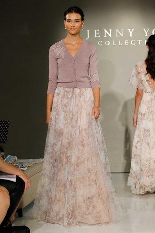 jenny-yoo-bridesmaids-2016-purple-cardigan-and-flower-print-skirt-bridesmaid-dress
