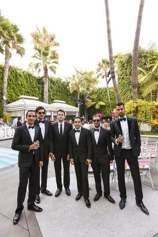 groomsmen-in-bow-ties-at-viceroy-santa-monica-pool