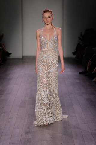hayley-paige-2016-halter-neck-nude-wedding-dress-with-iridescent-embellishments