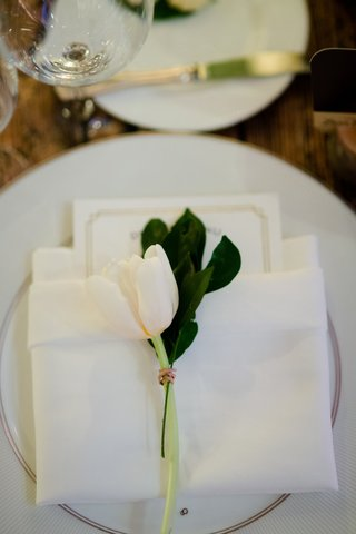wedding-reception-place-setting-china-napkin-menu-card-tulip-greenery