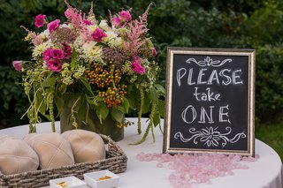 tan-yarmulkes-on-ceremony-table-with-chalkboard-frame