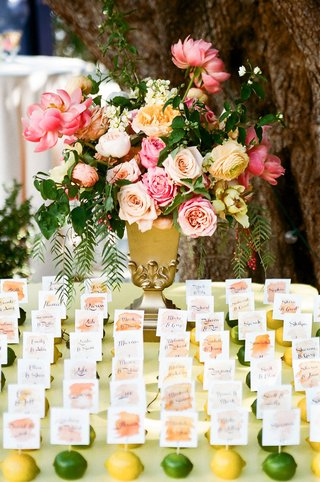 wedding-reception-spring-wedding-outdoors-yellow-lemon-green-lime-watercolor-escort-cards-flowers