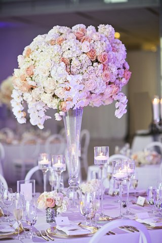 wedding-centerpieces-with-white-orchids-ivory-hydrangeas-peach-roses