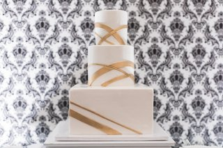 three-tier-wedding-cake-with-glassy-finish-and-modern-gold-stripes