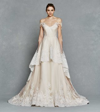kelly-faetanini-spring-2017-nora-off-the-shoulder-blush-wedding-dress-with-lace-sleeves-and-hem