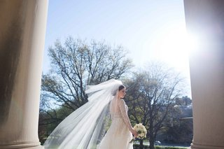bride-blusher-veil-floating-wind-roman-catholic-church-wedding-liancarlo-dress-religious-ceremony