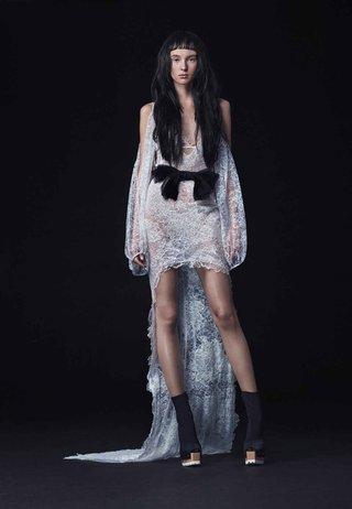 vera-wang-bride-fall-2016-sheer-lace-high-low-wedding-dress-with-black-bow