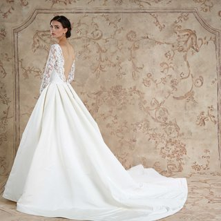 back-of-pleated-ball-gown-with-long-lace-sleeves-v-back-by-sareh-nouri-wedding-dress