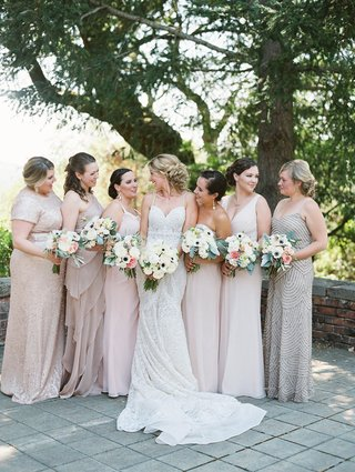 bride-bridesmaids-metallic-blush-dresses-different-bouquets-garden-roses-rustic-chic-wedding