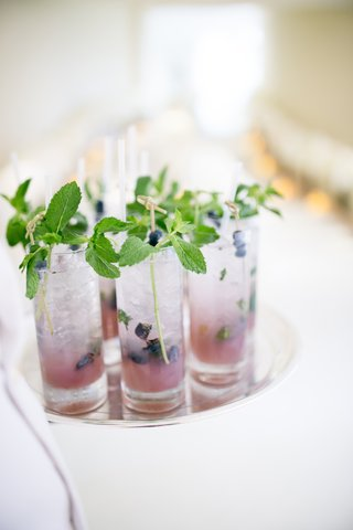 wedding-cocktail-hour-with-fresh-blueberries-and-mint
