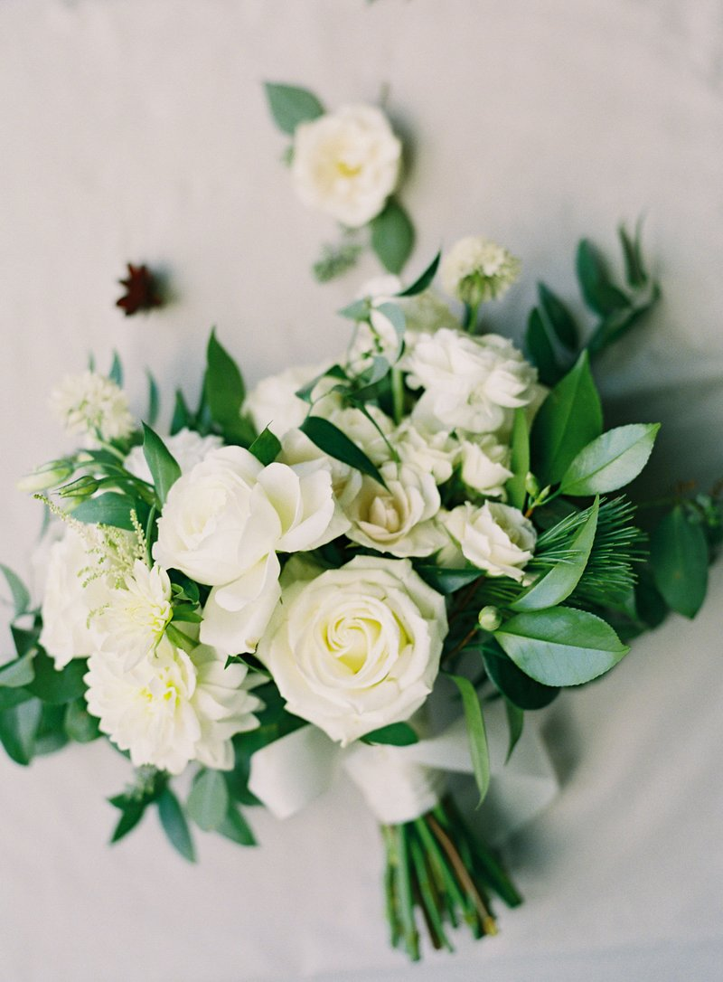 White, Ivory + Green Bouquet