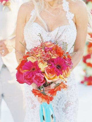 cj-lana-perry-wedding-bouquet-turquoise-ribbon-pink-rose-orange-rose-yellow-rose