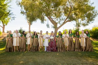 bridal-party-traditional-indian-hindu-wedding-garb-two-piece-outfits-bridesmaids-groomsmen-posing